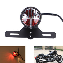 Wholesale Motorcycle Red Led Tail Light - Hollow Out STOP LED Tail Brake Light with License Plate Mount For Harley Bikes Bobber Choppers Custom Motorcycle #MB179