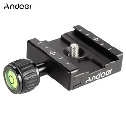 Wholesale Quick Release Plate Adapter - Wholesale- Andoer QR-50 Quick Release Plate Clamp Adapter with Built-in Bubble Level for Arca Swiss RRS Wimberley Tripod Ball Head