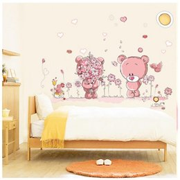 Wholesale wall decals baby girl - Removable Cute Couple Bear Wall Stickers Art Decal Wall Post Nursery Girl Baby Children Bedroom Decor
