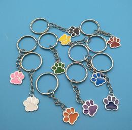 Melhores chaveiros de animais on-line-New Style Hot 50 pçs / lote Esmalte Esmalte Multicolor Gato Cão Urso Pata 25 MM Chaveiro Saco Chaveiro Jóias Fazer Melhor Amigo Presente
