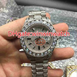 Wholesale Watch Hip Hop - Huge diamonds bezel big size 43mm wrist watch luxury brand hip hop rappers full iced out silver case silver face dial automatic watches