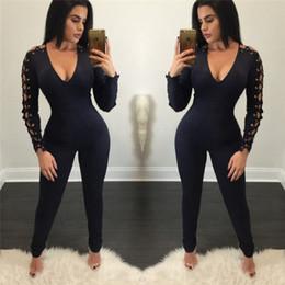 1ea74fc94746 Discount full lace jumpsuit long sleeve - Wholesale- Women Jumpsuit Cool  Black Bandage Overalls 2017