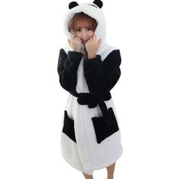 Wholesale Pajamas Sale - Wholesale- Hot Sale Winter Lady Pajamas Bath Robe Sleepwear Women Coral Velvet Bathrobes Women Cartoon Panda Homewear
