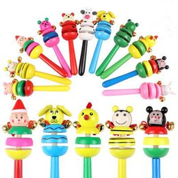 Wholesale Wholesale Plastic Baby Rattles - Hot Selling Baby Wooden Hand Rattle Baby cute Cartoon Toys Promotional Training toys musical instruments Educational Noisemaker Gifts