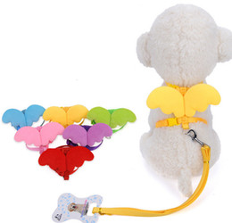 Wholesale Harness Rope Sizes - Nylon Cute Angel Wing Dog Cat Pet Harness Good Qualty Cheap Dog Lead Rope Fashion Leash For Small Pets Mix Color XS S M Size 10PCS LOT