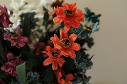 Wholesale Orange Small Decoration - 5colors Wholesale PE Real Touch artificial Small Flower Bouquets PE Euro Style Chrysanthemum 50pcs lot Home Garden and Wedding Decorations