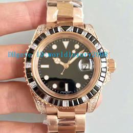Wholesale Eta Men Watch - Luxury Brand Red Gold Automatic ETA 2836 Movement Men's watch Black White Diamonds Bezel Sapphire crystal Black Dial New Style Man watches