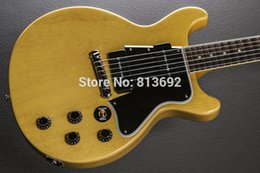 Wholesale Double Neck Sg - Custom Vintage Natural SG Electric Guitar,One Piece Body, One Piece Neck, Double Cutway,Black Pickguard, P 90 Pickups, White Pearloid Tuners