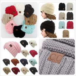 Wholesale Hot Spring Beanies - Hot sale Parents Kids CC Hats Baby Moms Winter Knit Hats Warm Hoods Skulls Hooded Hats Hoods M048