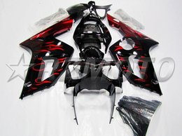 Wholesale Kawasaki Ninja 636 Fairings - New ABS Plastic Injection mold Fairing kits for kawasaki Ninja ZX6R 636 03-04 ZX-6R 03 04 ZX 6R 2003 2004 fairings set nice black red flame