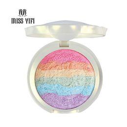 Радужный ярлык онлайн-Wholesale-New Baked Mars Prism Rainbow Highlighter  Palette Cosmetic Blusher Shimmer  Iluminador Maquiagem Contour Eyeshadow