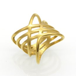 Wholesale Unique For Sale - New Hot Sales Unique Shaped Woman Wedding Party Bands Classical Gold Color Cocktail Rings For Womens Fashion Jewellery