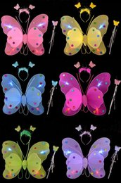 Wholesale Dress Wings Children - Children dress up for Halloween can not afford three-piece pink butterfly wings angel wings butterfly wings luminous flash