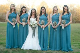 Wholesale One Shoulder Teal Dresses - Teal Chiffon Long Bridesmaid Dresses One Shoulder Ruffle Zipper Floor Length Plus Size Wedding Maid of Honor Gowns Formal Evening Dress 2017