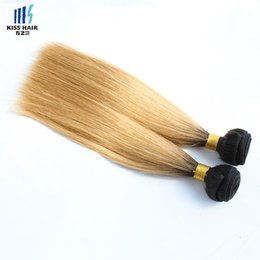 Cheveux péruviens colorés 1 faisceaux hétéroclites T1B / 27 Miel Blonde Ombre Cheveux Court Style Bob Brésilien Indien Cambodgien Vierge Tissage de Cheveux Humains ? partir de fabricateur