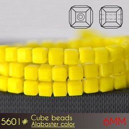 Wholesale Faceted Black Glass Bead Necklace - Wholesale Faceted 6mm Alabaster color Glass Cube Beads A5601 100pcs set Seed Beads for latest design beads necklace