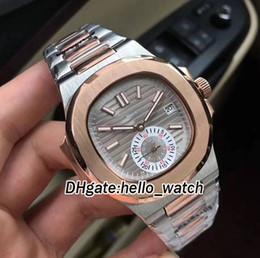 8 Style Sport Nautilus 5980 / 1AR-001 Серый циферблат Автоматические мужские часы Двухцветная стальная полоса из розового золота с оригинальной пряжкой Мужские спортивные часы от