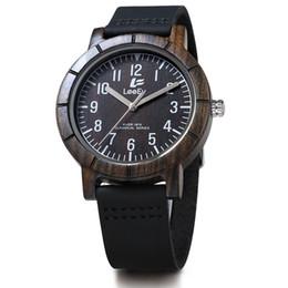 Montre homme bois noir en Ligne-LeeEv EV1875 Mens Handmade 100% vache peau véritable bracelet en cuir noir et bois de santal avec mouvement à quartz Analog Wood Watch