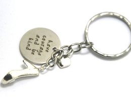 Wholesale Wholesale High Heel Shoe Keyring - 12pcs Have courage and be kind keychain Princess high heeled shoe Inspired charm keyrings silver tone