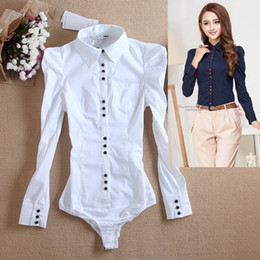 Wholesale Korean Office Blouses - Women Body Shirt Blouse Formal Suit Shirts Tops with Briefs Long Sleeve White Office Lady Work Business Fashion Korean Bodycon