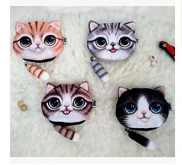 Wholesale Dhgate Girls - Women Purse Cat 3D Coin Purse Bag Wallet Girls Clutch Purses Printer Cat face Change Purse cartoon handbag case Free Shipping Dhgate