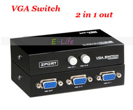 Wholesale Vga Selector Switch - Metal Maxtor 2 Port VGA Switch LCD Monitor Switch Switcher 2 to 1 Selector Box 2 in 1 Vga Sharer free shipping