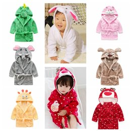 Wholesale Christmas Hooded Towels - Children anima bathrobe hooded bath towel Dinosaur Mouse deer bathrobe Kids animal cute Pajamas Night Sleepwear 8 design KKA1066