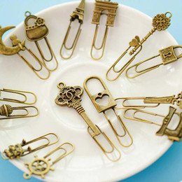 Wholesale Vintage Paper Clips - New Fashion 10 Piece lot Cute Metal Bookmark Vintage Key Bookmarks Paper Clip For Book Stationery Free Shipping School Office Book Marks