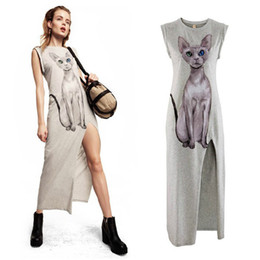 Wholesale Maxi Skirt Side Split - Maxi dress cat print Women Sexy Side Split lovely Cat Cartoon Print Short Sleeve Maxi Long Tank Dress black grey blue long skirt