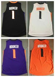 Wholesale Phoenix Top - New Hot #1 Devin Booker Jersey Phoenix Basketball Jerseys BOOKER All Stitched Purple Orange Black White Men Sports Jerseys Top Quality