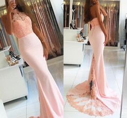 Wholesale Modern Art Nude Girls - 2017 New Sexy Black Girl Mermaid Halter Neck Illusion Sleeveless Pink Sweep Train Evening Dresses Lace Appliques Hollow Beaded Prom Gowns