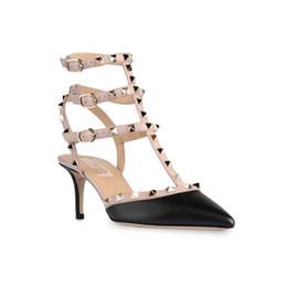 Wholesale Valentine Stud - 2017 Free shipping Valentine Garavani Studs pumps genuine leather High-heeled shoes women's shoes Sandals shoes woman 35-42