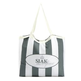 Wholesale Nylon Grocery Tote Bags - Wholesale- Custom Foldable bag Promotional Nylon Grocery Totes Shopping bags with Crimped Top Edge