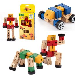 Wholesale Wooden Building Blocks For Children - Montessori Wooden Transformation Robot Building Blocks Kids Toys for Children Educational Learning Intelligence Gifts (Mix Color)