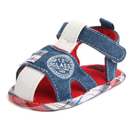 Wholesale Baby Boy Strap Sandals - New Boys Canvas Sandals Baby Shoes Non-slip Baby Walking Shoes Blue Color Soft Soled Shoes XG0768