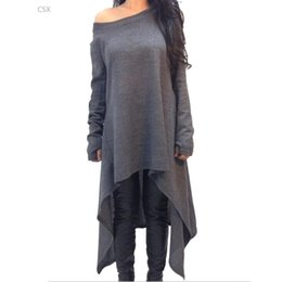 Wholesale Plus Size Tee Shirt Dress - Wholesale- New Fashion Asymmetrical Long Tee Shirt Casual Women Dress Loose Plus Size Long Sleeve Ladies Casual T Shirt Woman's Clothing