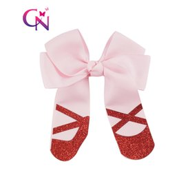 Wholesale Glitter Shoes For Girls - 20 Pcs lot 4 inch Cheer Hair Bow With Glitter Dancing Shoes For Cute Girl Grosgrain Ribbon Hairpins