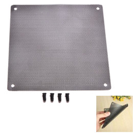 Wholesale Computer Dust Filters - Wholesale- 1PC 140mm x 140mm Cuttable PC Fan Case Dust Filter for Computer Cooling Fan 14cm Strainer Dustproof Mesh with 4pcs Screw