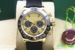 Wholesale Brand Suppliers - 2017 Factory Supplier Luxury AAA Brand Stainless Steel Sapphire 40mm black Ceramic Bezel Automatic Mens Watches No Chronograph Yellow Dial