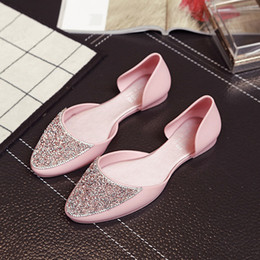 Wholesale Rhinestone Flat Sandals Wholesale - Summer Low With Rhinestone Flat sandal Bottom Sweet School Wind Leisure Time Beach Women's Shoes women Open Slip-On Classics Casual Sandals