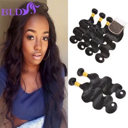 Wholesale India Wave - Body Wave Bundles with Closure India Virgin Human Hair Weft Extensions with Closure Unprocessed Human Hair Body Wave Free Shipping