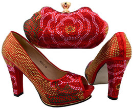 Wholesale Beautiful Wedge Heel Red - Beautiful heel 10.5CM ladies pumps with rhinestone decoration african shoes match handbag set for party dress BCH-31 red