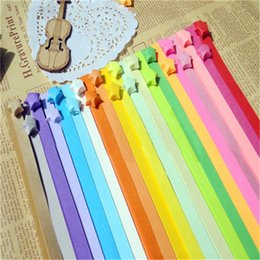 Wholesale Quilling Paper Strips - Wholesale-New 1*24cm Candy Colors Handcraft Origami Lucky Star Paper Strips Paper Origami Quilling Paper Decoration Home Decor 1pack 80pcs