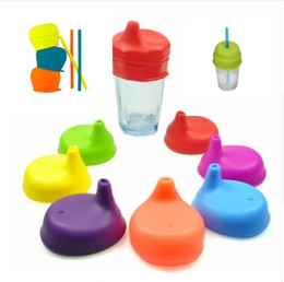 Wholesale Silicone Mug Lid Cover - Silicone sippy Cover Lids For Kids Cup FDA grade Soft Silicone Elasticity Siut For Stainless Steel Mug Glass Cup Silicone Pipette Cap