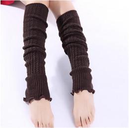 Wholesale Korean High Knee Socks - Wholesale- 2016 Korean Style Harajuku Women Leg Warmers Solid Leg Warmers Crochet Knitted Long Leg Warmers Knee High Warm Boot Socks women