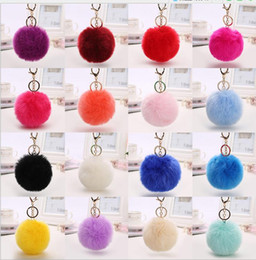 Wholesale Toy Iron Ball - 2017 lovely 8CM Rabbit fur ball plush key chain round ball fluffy toy keychain hairy car key ring Bag Pendant car keychain C041