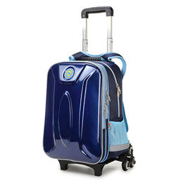 Wholesale Trolley Luggage Bags For Girls - New Fashion Kids Backpack Boys Multifunctional Kids School Bags with Wheel Reflective Strip Trolley Luggage for Boys Girls ZF0422