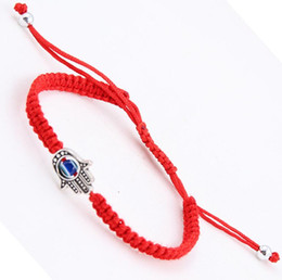 Wholesale Red Lucky Hand String - Wholesale Fashion 10pcs Silver Hamsa Hand&Lucky Red String Charm For Woman Good Luck Bracelets&Bangle Women Men Jewelry Holiday Gift B535