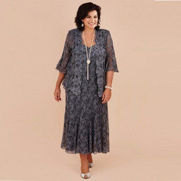 Wholesale Lace Plus Size Jackets - Plus Size Gray Lace Tea Length Mother of the Bride Dresses With Jacket Bride Mother Wedding Party Dress Formal vestido de renda