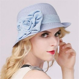 Wholesale T H Wholesale - Cute Women Woven Beach Hat Cloche Hat with Flower Band Straw Bucket Hat Summer Sun Hats Women Fedora